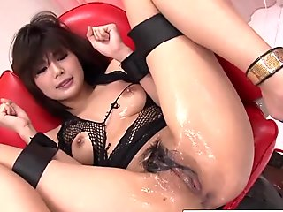They oil up her hairy pussy and make her cum so hard